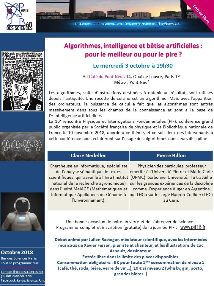 Algorithmes, intelligence et bêtise artificielles : pour le meilleur ou pour le pire ? Ce mercredi 3 Octobre au café Pont Neuf à 19:30