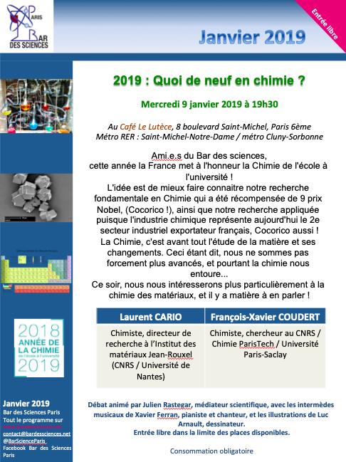 9 Janvier 2019 - 2018/2019 : Année de la CHIMIE !!