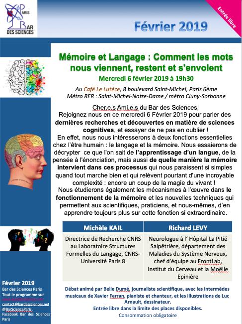 6 Février 2019 - Mémoire et Langage : Comment les mots nous viennent, restent et s'envolent