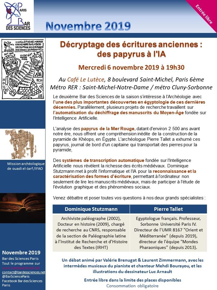 6 Novembre 2019 - Décryptage des écritures anciennes : des papyrus à l'IA