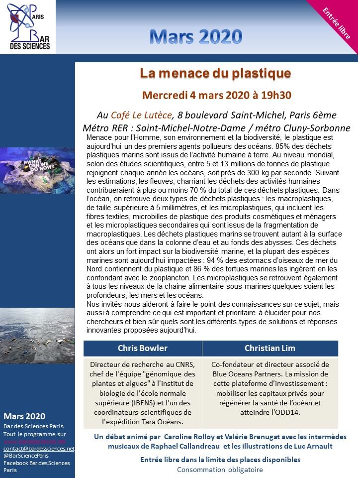 4 MARS 2020 - Du 6e continent à la cellule : La menace plastique